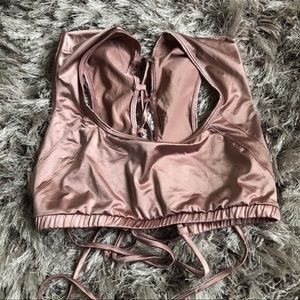 🔥UO, SEXY METALLIC MAUVE LACE UP BACK CROP TOP🔥